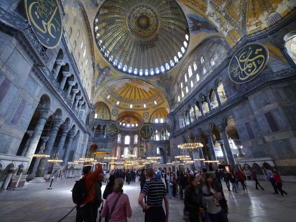 Inside one of the most beautiful buildings in the world - the Hagia Sophia - Istanbul.