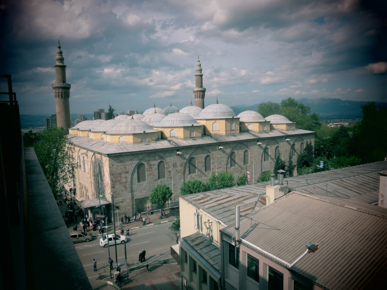 View of the Great Mosque of Bursa from my hotel room.