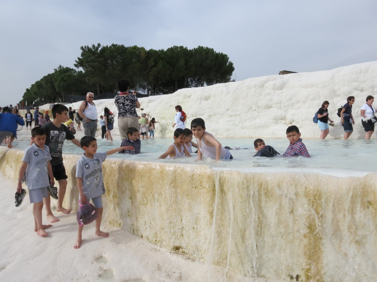 Illegally swimming in the calcite of Pamukkale.