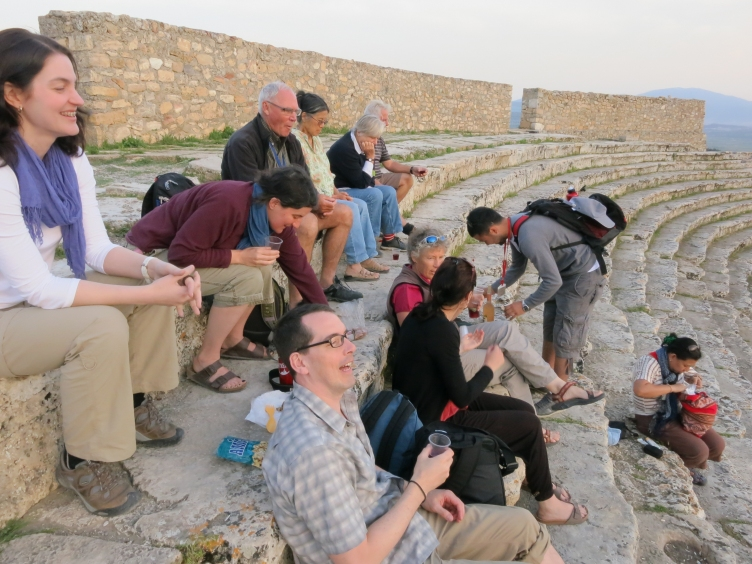 Sunset cocktails with the group at the ancient Hierapolis theatre.