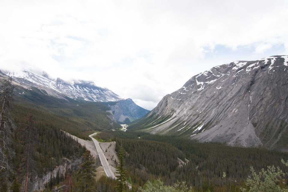 Driving towards the Icefield Parkway